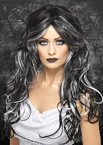 Womens Halloween Long Black and Grey Gothic Bride Wig