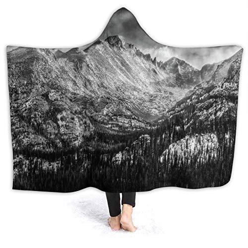 HARXISE Manta con Capucha,Parque Nacional Long Peak Rocky Mountain en Blanco y Negro,Suave Siesta ponible Mantas de Viaje/Vacaciones/Casual 80x60