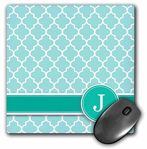 3dRose LLC 8 x 8 x 0.25 Inches Mouse Pad, Personalized Letter J Aqua Blue Quatrefoil Pattern Teal Turquoise Mint Monogrammed Personal Initial (mp_154550_1)