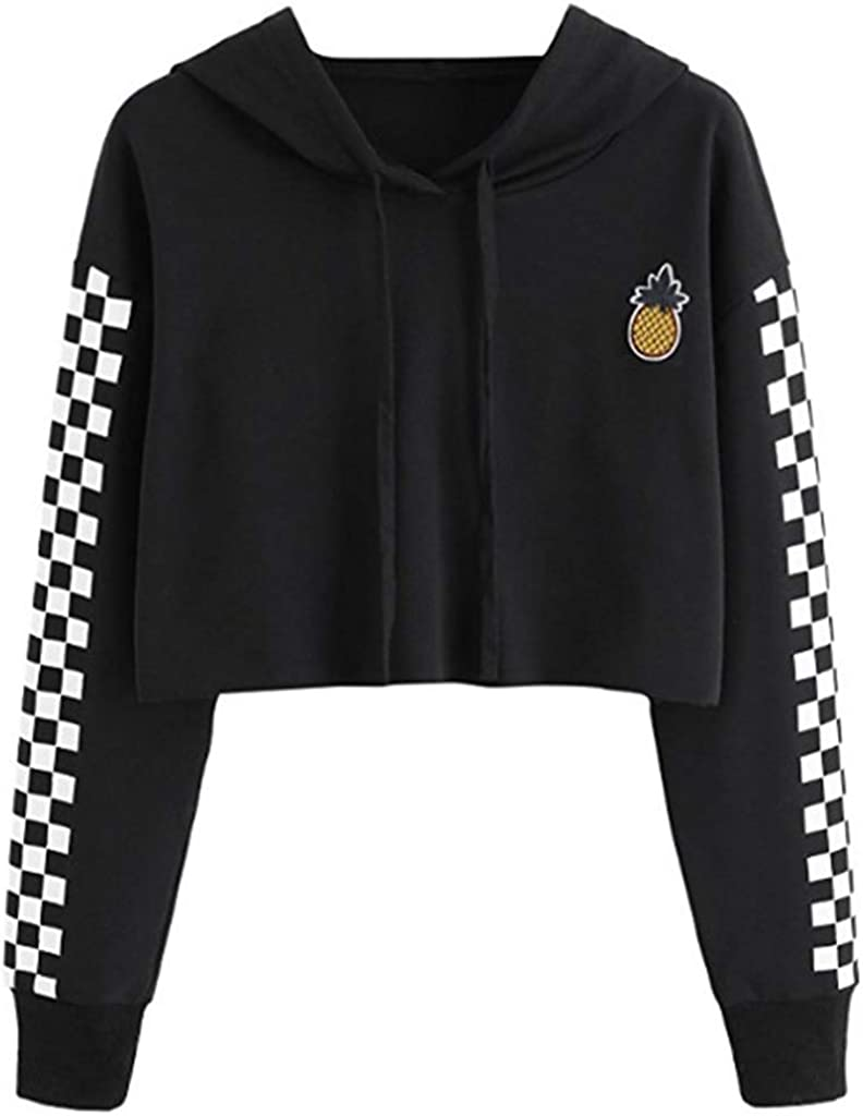 MEIYIN Womens Crop Tops Sweatshirt Pineapple Embroidery Gingham Plaid Hoodies Pullover