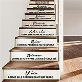 autocollant mural Stickers Escaliers Citation Française Cheris Ta Famille Salon Décoration