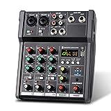 Consola De Mezclas Consola Mezcladora USB Portátil De 4 Canales Mezclador De Audio DigitalMezclador...