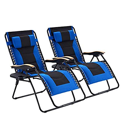 Oversize Padded Zero Gravity Chair Patio Lounge Chair with Cup Holder for Outdoor Beach Pool, Red