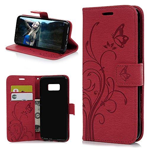 KASOS Coque pour Samsung Galaxy S8, Housse Case Bumper de Protection en PU Cuir Ultra Slim à Rabat Flip Cover Support Magnétique Adsorption Porte-Carte Photo Video Stand Étui-Rouge