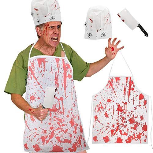 HOWAF Halloween Carnicero Disfraz Kit, Terror Halloween Decoración Delantal Carnicero Zombies y Chef Sombrero Cuchillo de Arma Halloween Costume Maquillaje Props