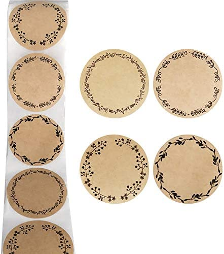 500 PCS 2 Kraft Jar Canning Stickers Gift Seal Stickers Labels with Floral Wreath Design product image