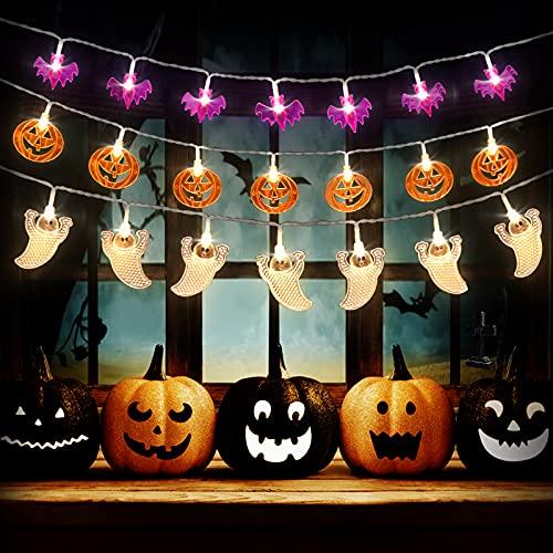 Beinhome 3ST Halloween Lichterkette, 9M 90 LED Orange Kürbis/Weiß Geister/Lila Fledermaus Halloween Lichter, Lichterkette Batterie Betrieb String Light für Innen Außen Beleuchtung Deko