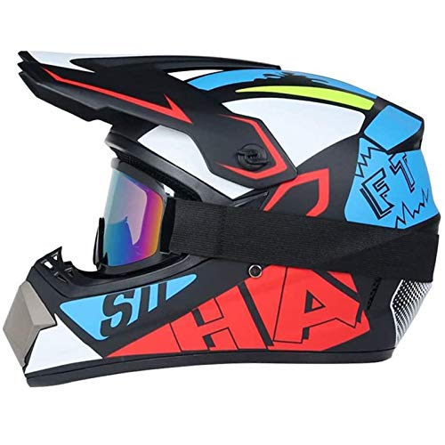 CZLWZZD Motocross-Helm Motocross-Helmset für Erwachsene Vollgesichts-MTB-Helmset Motorrad-Sturzhelm für Downhill Off-Road-Dirt Bike Motorrad