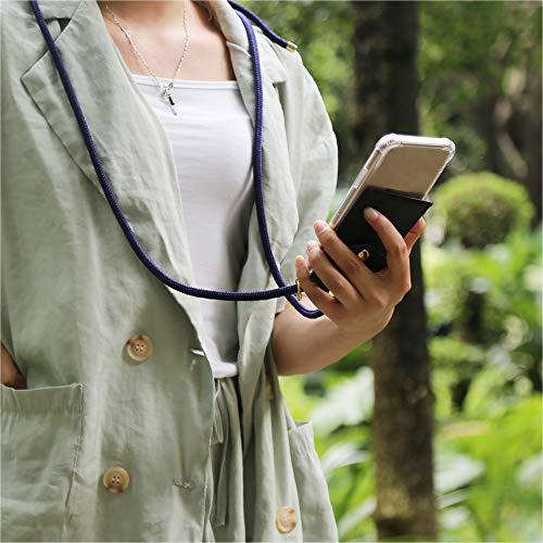 Cadorabo Handy Kette für Huawei NOVA 2 in TIEF BLAU - Silikon Necklace Umhänge Hülle mit Gold Ringen, Kordel Band Schnur und abnehmbarem Etui – Schutzhülle - 3