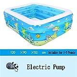 HYY@ Kiddie Pool aufblasbare badewanne schlagfestem Kunststoff Baby Pool sea Ball Pool für Kind/Baby/Familie mit fuß/elektrische pumpe geeignet 120 * 90 * 52cm