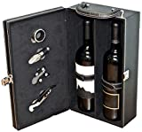 Digilant Lifestyle Top Handle Travel Two-Bottle Wine Carrier Case with 4 Piece Wine Accessory Set (Black)