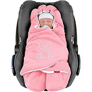 ByBoom® - Manta arrullo de invierno para bebé, es ideal para sillas de coche (p.ej. de las marcas Maxi-Cosi y Römer), para cochecitos de bebé, sillas de paseo o cunas; LA MANTA ARRULLO ORIGINAL CON EL OSO, Color:Rosa/Blanco