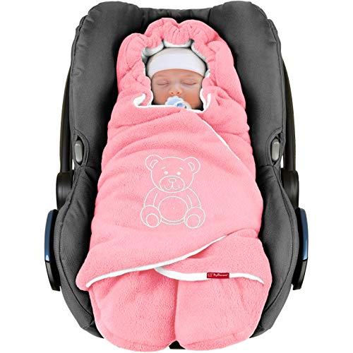 ByBoom - Manta arrullo de invierno para bebé, es ideal para sillas de coche (p.ej. de las marcas Maxi-Cosi y Römer), para cochecitos de bebé, sillas de paseo o cunas; LA MANTA ARRULLO ORIGINAL CON EL OSO, Color:Rosa/Blanco
