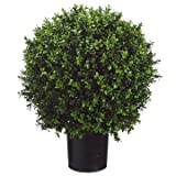 26 Inch Tall Boxwood Ball-Shaped Artificial Topiary w/Pot Indoor/Outdoor...