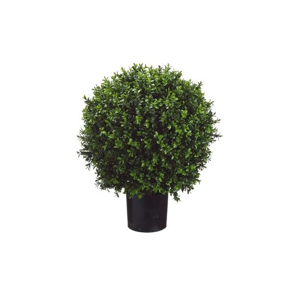 26 Inch Tall Boxwood Ball-Shaped Artificial Topiary w/Pot Indoor/Outdoor