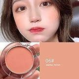 Teyun 6 Colores Sombras de Ojos Rubor Paleta Cara Mineral Pigmento mejilla Blusher Polvo Monocromo Maquillaje portátil Profesional Contorno tslm1 (Color : F)