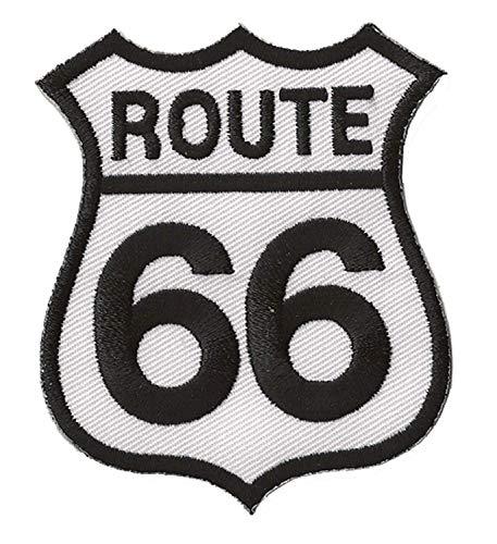 Patch patche écusson route 66 thermocollant moto motard rider biker brodé blanc