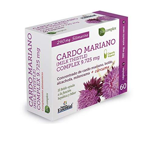NATURE ESSENTIAL | Cardo Mariano Complex | 9.725 mg | Con Boldo, Milenrama, Alcachofa y Cúrcuma | Contribuye al Potencial Detoxificante del Hígado | Aydua a la Función Hepática y Biliar | 60 Cápsulas