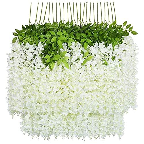 SHACOS 24 Stück/3,6Ft Glyziniengirlande Künstliche Glyzinien Weiß Kunstblumen Seide Blumengirlande Gefälschte Seidenblumen Blauregen für Garten Hochzeit Party Dekor Hause