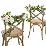 Ling's moment White Greenery and Ivory Wedding Chair Decorations for Bride and Groom - Bridal Shower, Swags for Wedding Arch Flowers Decorations, Wedding Decorations for Reception (Set of 2)