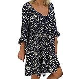 Routinfly Vestido de verano para mujer con lunares estilo boho, maxivestido, minivestido informal, vestido floral, vestido de patinaje, talla grande, estampado de manga larga, cuello en V