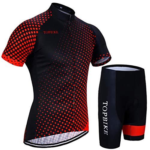 X-Labor - Conjunto de maillot de ciclismo para hombre, camiseta de manga corta y pantalón de ciclismo con acolchado 3D, Hombre, color rojo, tamaño EU L (Tag:XL)