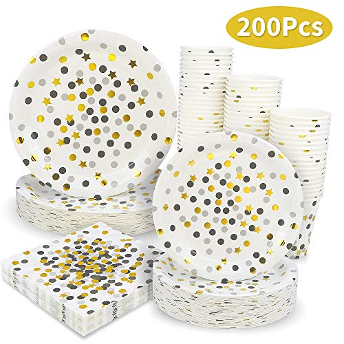 Black and Gold Dot Party Supplies - 200PCS Disposable Black Paper Plates Dinnerware Confetti Dots Gold Star 50 Dinner Plates 50 Dessert Plates 50 9oz Cups 50 Napkins Wedding Birthday Party Baby Shower