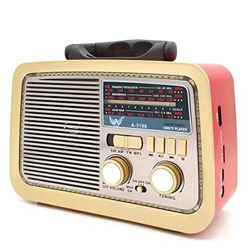 Rádio Retrô Portátil Mp3 Usb Cartão Sd Am Fm C/bluetooth (Vermelho)
