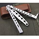 Practice Butterfly Knife Balisong Trainer Stainless Steel Metal Folding Knife Training Comb Knife Unsharpened Blade for CS GO Training(Silver)