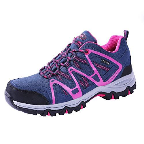 TFO Damen wasserdichte Trekkingschuhe & Wanderschuhe Atmungsaktive und Leichte Bergschuhe & Outdoor Schuhe mit Gedämpfter Sohle Blau/Rosa, 41