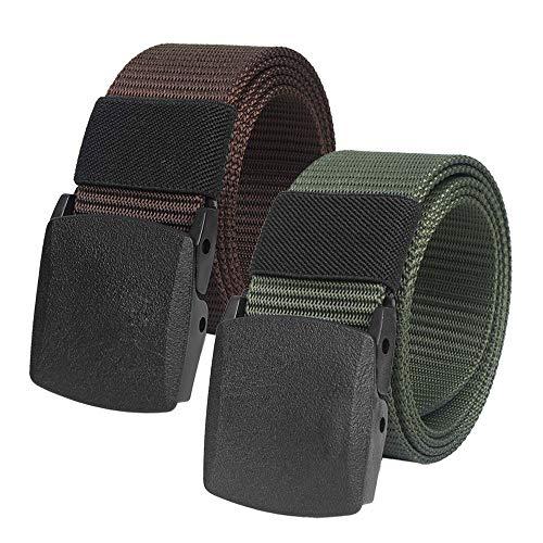 2 Piezas Cinturon Hombre Tactico Militar Ajustable Cintura con Hebilla Plastica