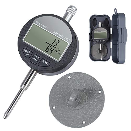eSynic DTI Digital Dial Indicator 0-25.4mm/1'' Digital Probe Indicator Supports Fractions/Inch/Metric Aluminum Alloy Dial Test Electronic Gauge High Resolution 0.01/0.0005''/1/128 with Plastic Box