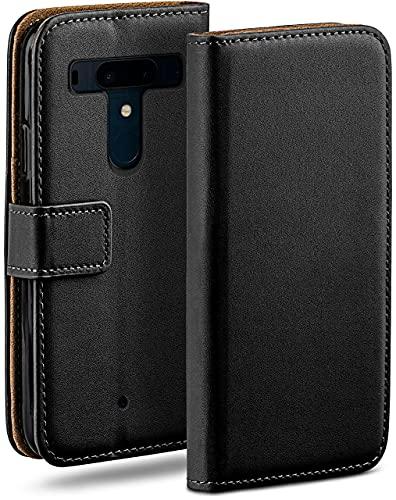 moex Klapphülle für HTC U12 Plus Hülle klappbar, Handyhülle mit Kartenfach, 360 Grad Schutzhülle zum klappen, Flip Hülle Book Cover, Vegan Leder Handytasche, Schwarz