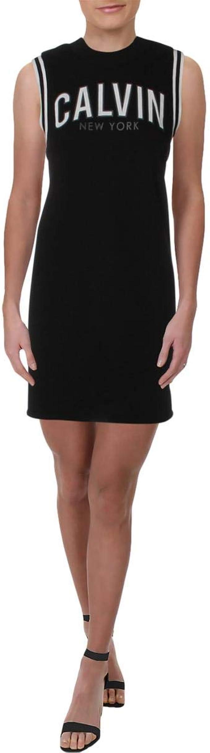 Calvin Klein Damen Sweatshirt Dress Athletic Rib Trim Kleid ...