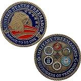 chenchen Cinco medallas de masones del ejército Americano Moneda Coleccionable Moneda de águila de 50 mm Moneda Conmemorativa de la Marina de Guerra Bronce Verde Colección de copias de Oro Regalos
