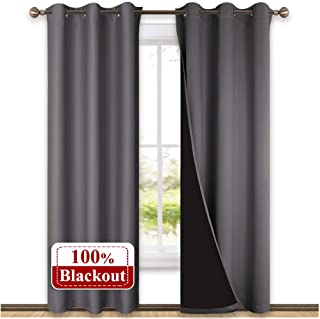 NICETOWN Grey Full Shade Curtain Panels, Pair of Thermal Insulated & Energy Efficiency Blackout Curtains for Living Room Windows, Lined Silky Window Dressing (42-inch Wide x 84-inch Long, Gray)