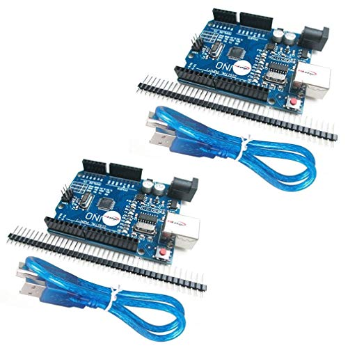 HiLetgo 2個セット NEWバーション UNO R3 ATmega328P USB CH340G Arduinoと互換性 + USB ケーブル [並行輸入品]