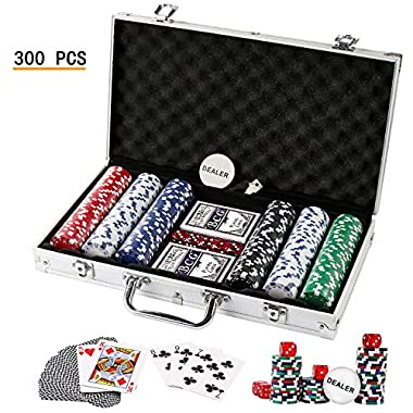Texas Holdem Poker Chips Set,DOUBLEFAN Heavy Duty 11.5 Gram Clay Stirped Poker Chips Set with Aluminum Case for Blackjack Gambling, Set of 300 Chips