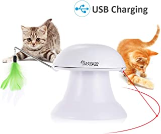 DADYPET Cat Laser Toy, 2 in 1 Automatic Non-Handheld Cat Chaser Toy and Interactive Feather Toy, Auto Rotating Light Cat Chaser Toy for Cats and Dogs