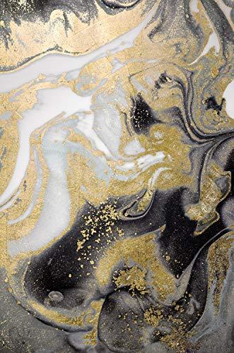 Queence | Acrylglasbild mit Blattgold | Wandbild Glasbild Acrylbild Rahmenlos | Abstrakte Kunst | Druck auf Acrylglas | Goldveredelung | Größe: 40x60 cm