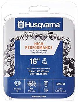 Husqvarna Chainsaw Chain 16  .050 Gauge 3/8 Pitch Low Kickback Low-Vibration Orange/Gray  531300446