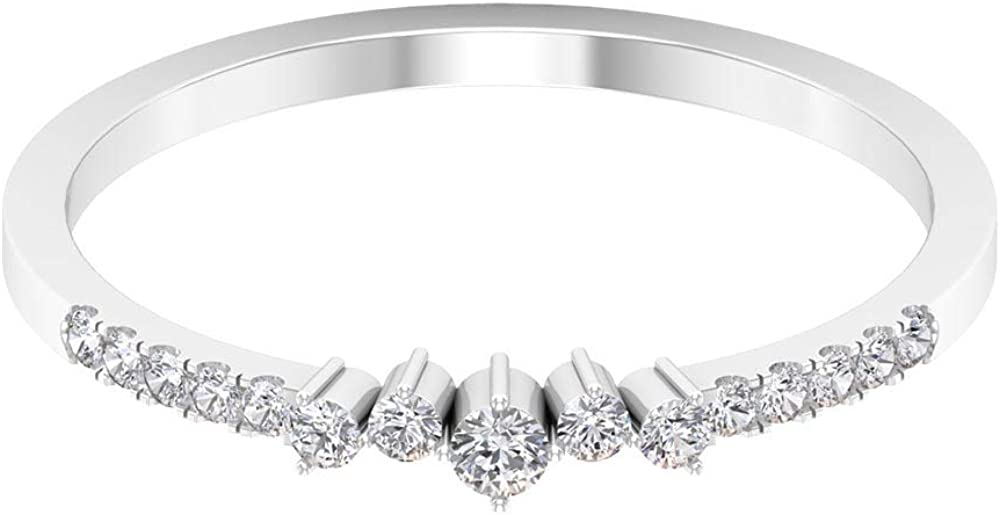 Modern Wedding Band, HI-SI Round Diamond Ring, Dainty Half Eternity Band, Stackable Bridal Ring, 5 Stone Diamond Ring,14K White Gold,Diamond,Size:US 9.00