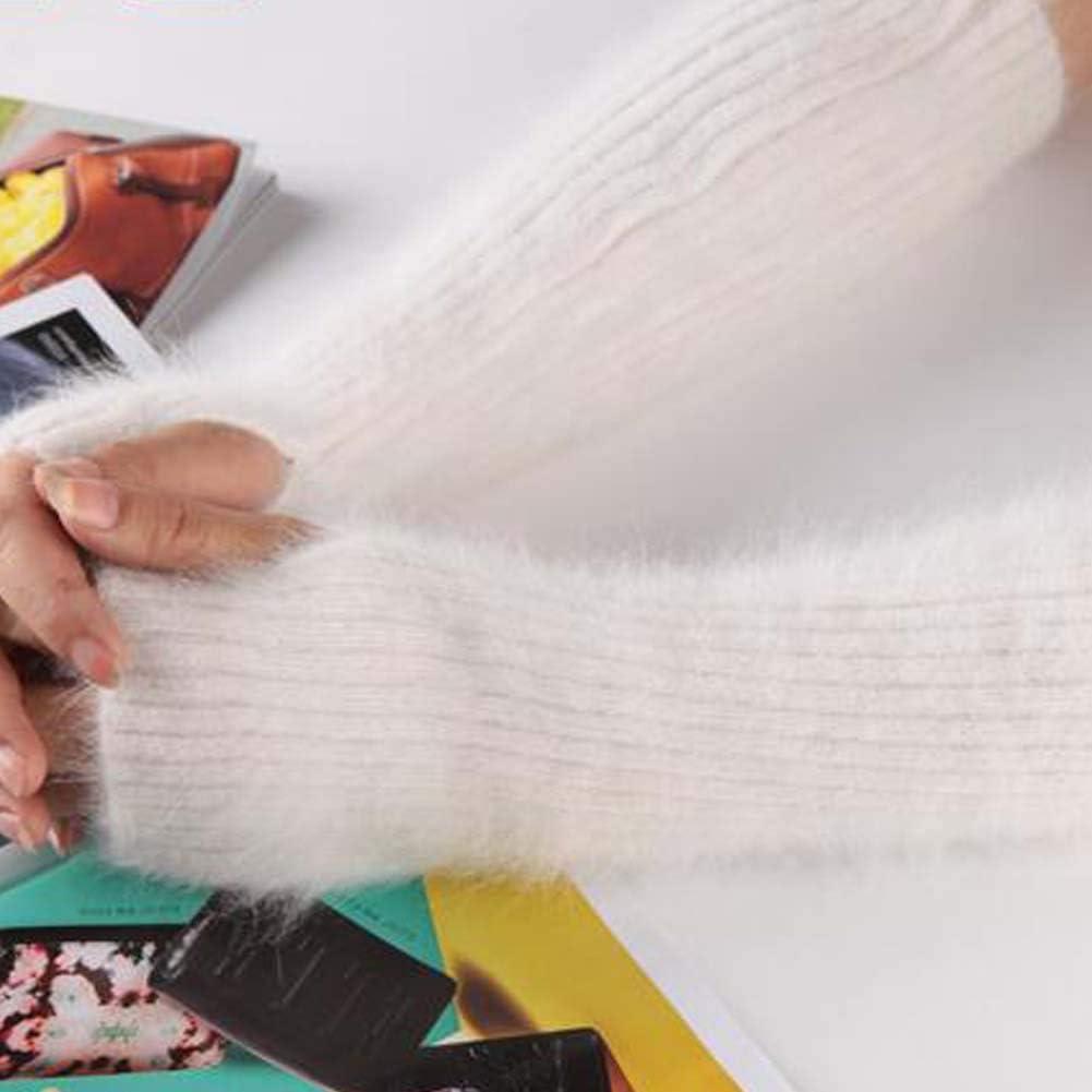White Plush Arm Sleeve Long Fingerless Thumb Hole Gloves Mittens Knitted Arm Warmer for Women Winter Warm