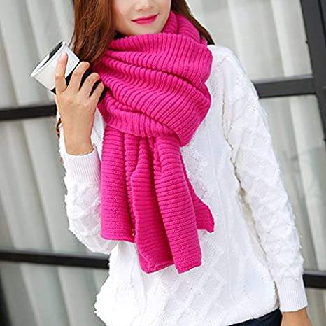 Demarkt Damen lange Strickschal Winterschal Winter Warmer Stricken Schal Schlauchschal aus Baumwolle Rot 180 43cm