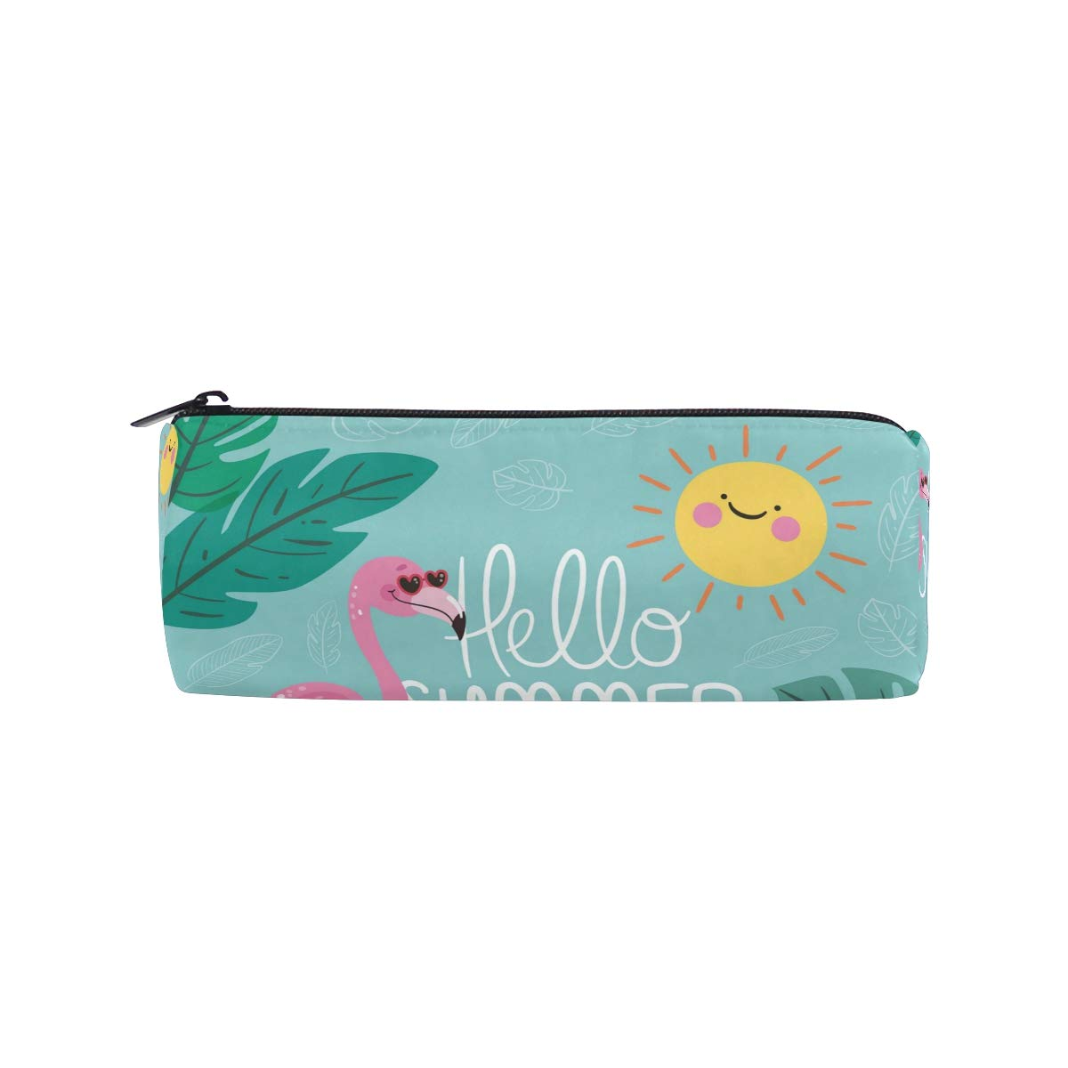Flamingo Summer - Estuche cilíndrico para lápices de gran capacidad con bolsa de maquillaje con cremallera: Amazon.es: Oficina y papelería