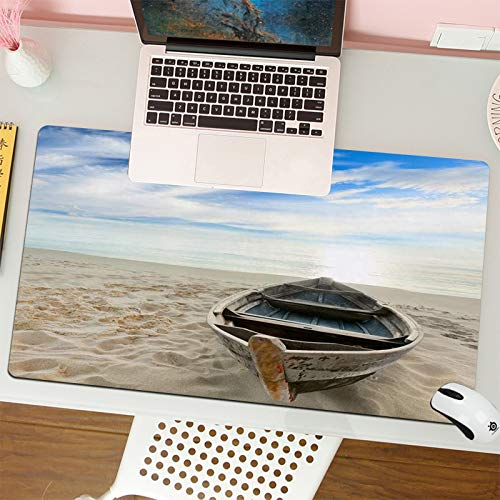 Gaming Keyboard Mouse Pad da Gioco Barca sulla spiaggia al momento del sorgere del sole adatta per computer desktop notebook