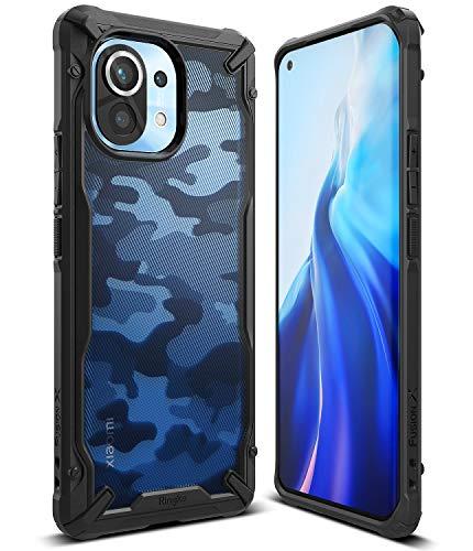 Ringke Fusion-X Kompatibel mit Xiaomi Mi 11 Hülle, Handschlaufe Loch im Rand mit Kratzfest Fingerabdruckfest 3D Militär Muster - Camo Black