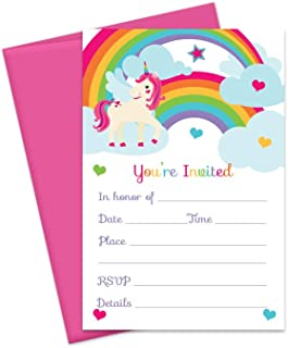 Unicorn Party Invitations with Pink Envelopes (15 Pack) Rainbow Birthday, Girls Baby Shower, Fun Little Kids Celebrations Fill-In Blank Invites