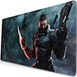Professional Large Gaming Mouse Pad,Commander-Shepard-in-Mass-Effect-3,75x40cm Computer Mouse Mat,Desktop Non-Slip Rubber Base Water Resistant Stitched Edge,Mouse Pad
