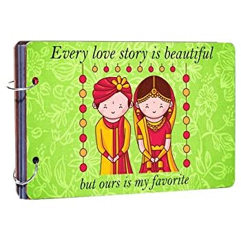 Studio Shubham Every Love Story is Beautiful Wooden Photo Album (26 cm x 16 cm x 4 cm, Green)
